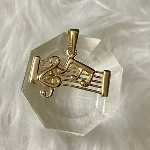 Jewelry - 14K Solid Gold Music Theme Pendant